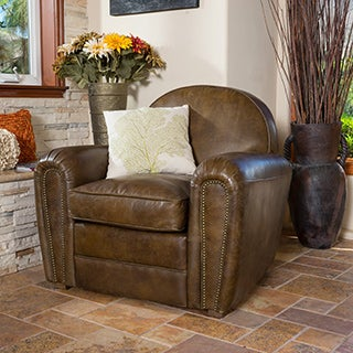 Bourbon Top Grain Leather Arm Chair by Christopher Knight Home