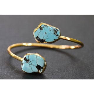 Mint Jules Yellow Goldplated Raw Turquoise Cuff Bangle Adjustable Bracelet