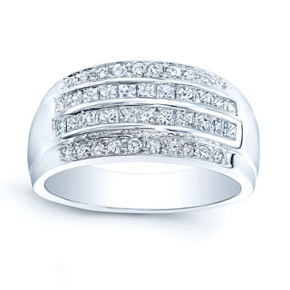 18k White Gold 4/5ct TDW Diamond 3-row Band (Size 6.5)