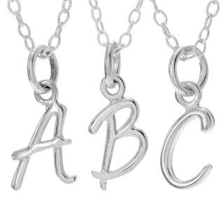 Journee Collection Sterling Silver Initial Charm Pendant|https://ak1.ostkcdn.com/images/products/P17695977a.jpg?impolicy=medium
