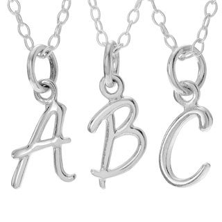 Journee Collection Sterling Silver Initial Charm Pendant (More options available)