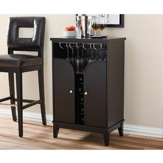 Baxton Studio Easton Contemporary Dark Brown Wood Dry Bar and Wine Cabinet