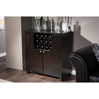 Baxton Studio Murano Contemporary Dark Brown Wood Dry Bar and Wine Cabinet