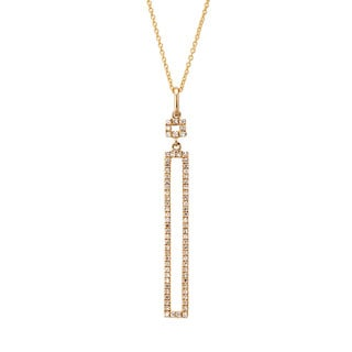 Kabella 14k Gold 1/5ct TDW Diamond Open Rectangular Necklace (G-H, I1-I2)