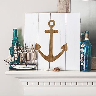 Rustic White Anchor Wooden Wall Art