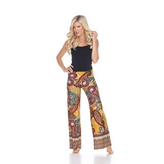 White Mark Women's Paisley Print Palazzo Metrix Pants