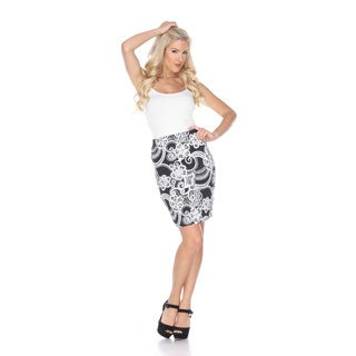White Mark Women's Pretty and Proper Paisley Print Pencil Skirt
