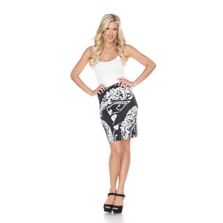 White Mark Women's 'Pretty and Proper' Leaf Print Pencil Skirt