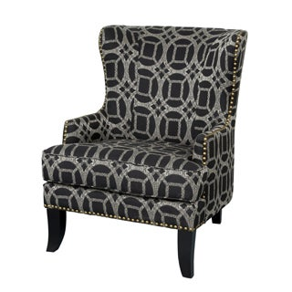 Porter Grant Marble Cream and Black Wingback Accent Chair