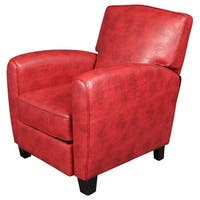Porter Henry Pushback Red Bonded Leather Recliner Accent Chair