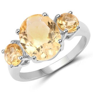 Malaika .925 Sterling Silver 4.00 Carat Genuine Citrine Ring