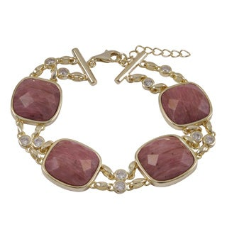 Luxiro Gold Finish Cubic Zirconia Semi-Precious Gemstone Square Bracelet