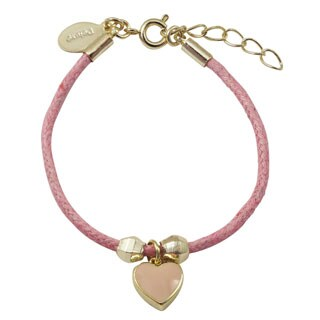 Luxiro Gold Finish Children's Pink Enamel Heart Charm Cord Bracelet