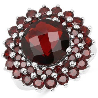 Malaika .925 Sterling Silver 10.10 Carat Genuine Garnet Ring
