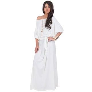 Koh Koh Women's One Shoulder 3/4-Length Sleeve Cocktail Evening Maxi Dress