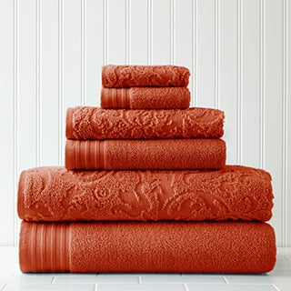 Amraupur Overseas 6-Piece Jacquard/Solid Leaf Swirl Towel Set