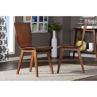 Baxton Studio Elsa Mid-century Scandinavian Style Dark Walnut Bent Wood Dining Side Chair Set (Set of 2)