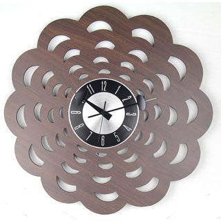 Mid-century Vintage 20-inch Wood Floral Clock