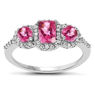 Olivia Leone 10k White Gold 1/5ct TDW Diamond and Pink Tourmaline Ring