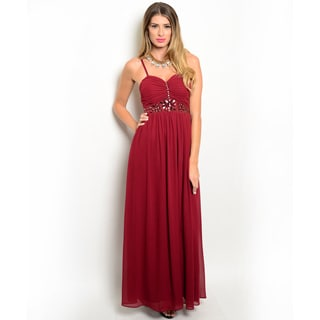 Shop the Trends Women's Spaghetti Strap Embellished Empire Gown