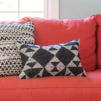 Woven Diamond Charcoal/ Ivory 13 x 21 Throw Pillow or Pillow Cover