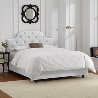 Skyline Furniture Tufted Bed in Velvet White