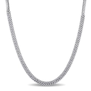 Miadora Signature Collection 18k White Gold 7 1/8ct TDW Diamond Tennis Necklace