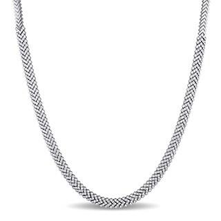 Miadora Signature Collection 18k White Gold 7 1/8ct TDW Diamond Tennis Necklace