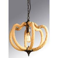 Thatcher 1-light Hemp Rope 17-inch Edison Chandelier with Bulb