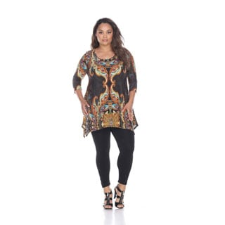 White Mark Women's Plus Size 'Marlene' Multicolor Top Tunic
