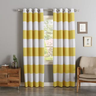 Aurora Home Cabana Stripe Printed Room Darkening Curtain Panel Pair