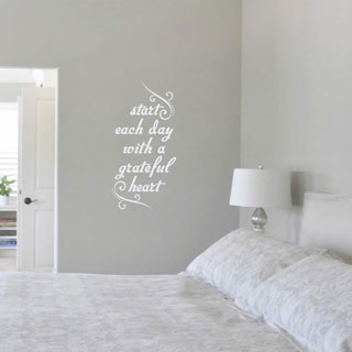 start each day with a grateful heartu0027 12 x 24inch wall decal