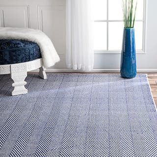 nuLOOM Handmade Flatweave Chevron Cotton Navy Rug (9' x 12')|https://ak1.ostkcdn.com/images/products/P17741176e.jpg?impolicy=medium