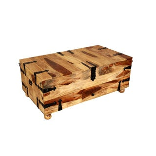 Porter Taos Solid Sheesham Rectangle Coffee Table Trunk with Wine Storage (India)