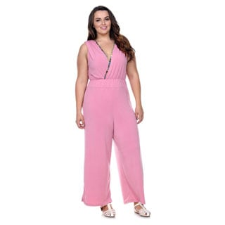 Stanzino Women's V-Neck Wide Leg Palazzo Jumpsuit