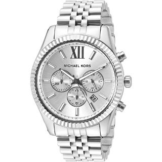 michael kors men s mk8281 gold tone fluted bezel chronograph watch michael kors men s mk8405 lexington chronograph silver tone dial silver tone stainless steel bracelet watch