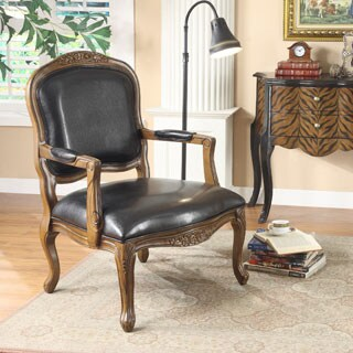 Somette Black Faux Leather Accent Armchair