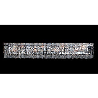 "Contemporary 8 light Chrome Finish and Clear Crystal Vanity Light Wall Sconce 36"" Wide"