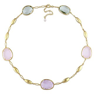 Miadora Yellow Plated Sterling Silver Amethyst and Quartz Station Link Necklace