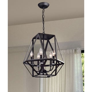 Joshua 5-light Multangular Iron Chandelier in Antique Black