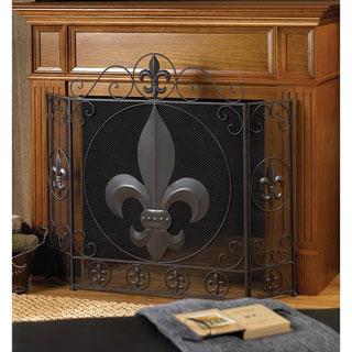 Victorian Fleur De Lis Iron Fireplace Screen