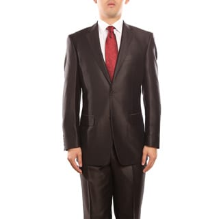 Verno Baldino Men's Dark Brown Sharkskin Two-Piece Suit