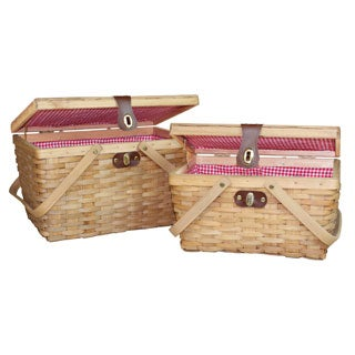 Gingham Lined Wood Picnic Baskets Set of 2