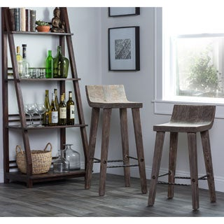 Tam Rustic Wood Brown 24-inch Counter Stool by Kosas Home