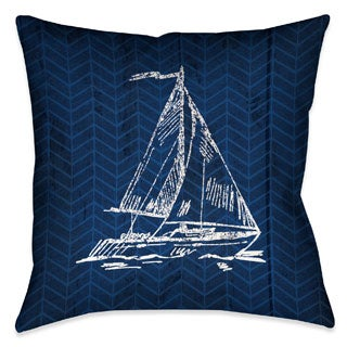 Laural Home Navy Sailboat Decorative 18-inch Throw Pillow