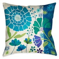 Laural Home Blue Florals II Decorative 18-inch Throw Pillow