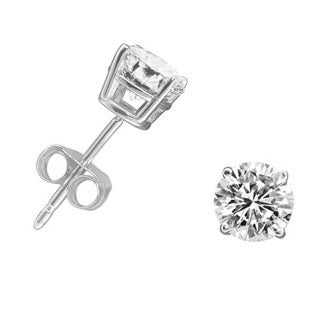 10k White Gold 3/4ct TDW Round-cut Diamond Stud Earrings (H-I, I1-I2)