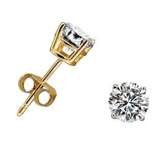 10k Yellow Gold 3/4ct TDW Diamond Round Stud Earrings (H-I, I1-I2)