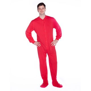 Red Jersey Knit Footed One-piece Unisex Pajamas by Big Feet Pajamas