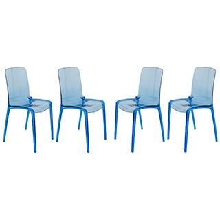 LeisureMod Laos Transparent Blue Dining Chair (Set of 4)